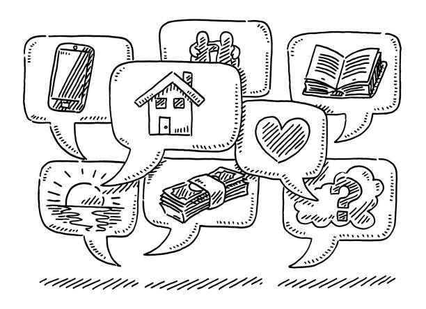 Group Of Speech Bubbles With Icons Drawing vector art illustration