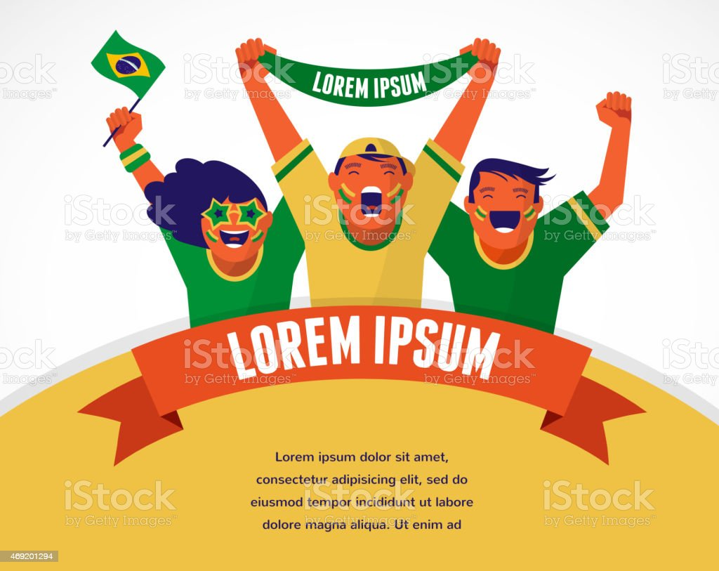 Group of sport fans vector art illustration