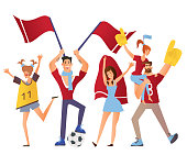 Group of sport fans with attributes cheering for the team. Flat vector illustration on a white background. Isolated cartoon character image.