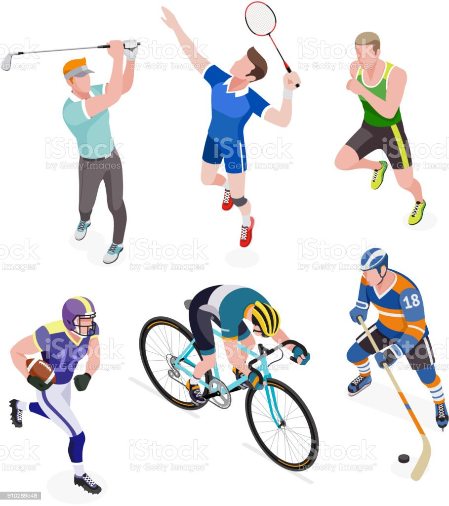 Group of sports people. vector art illustration