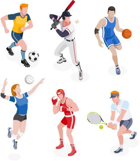 ilustraciones, imágenes clip art, dibujos animados e iconos de stock de grupo de deportistas. - boxeo deporte