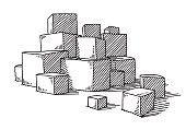 Hand-drawn vector drawing of a Group Of Stacked Boxes. Black-and-White sketch on a transparent background (.eps-file). Included files are EPS (v10) and Hi-Res JPG.