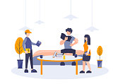 Group of student study together. Vector illustration flat cartoon design. Teenager college woman and man learning with friends reading book and finishing task or homework. Concept of examination.