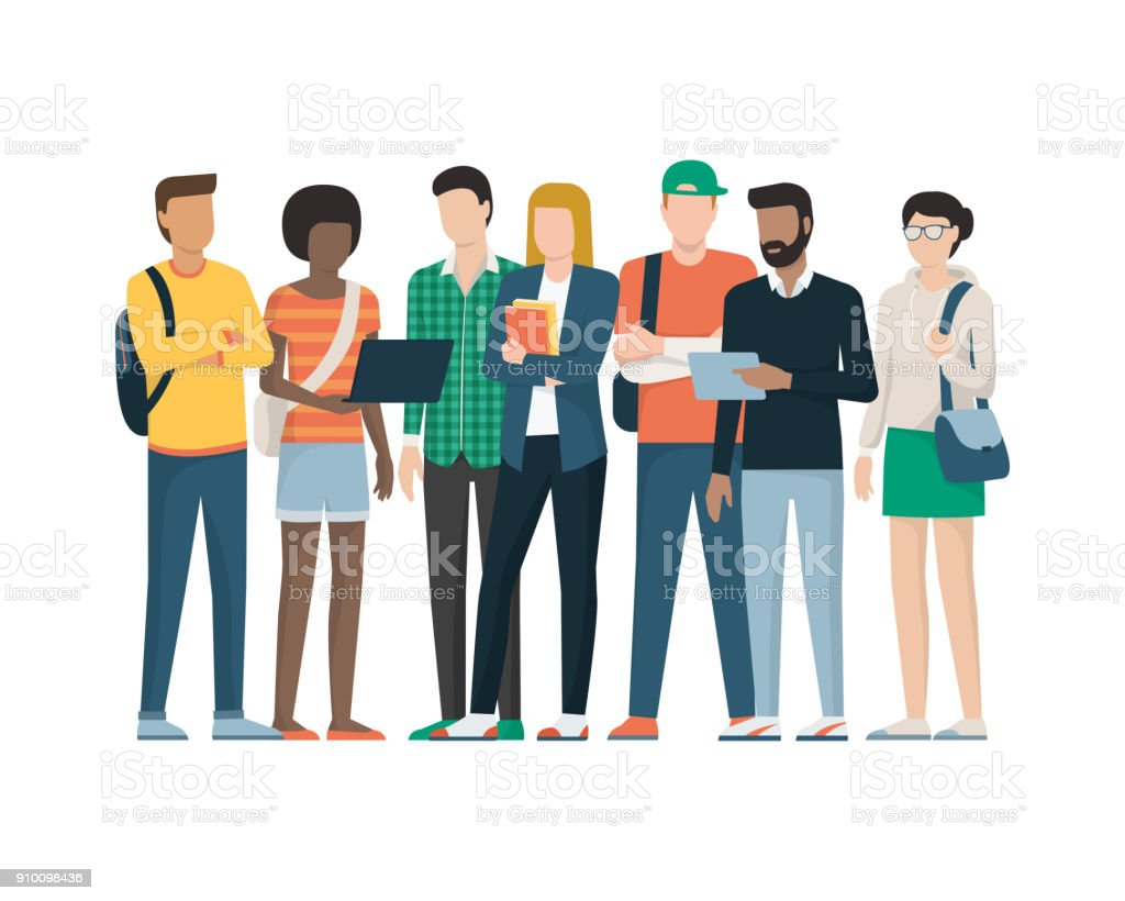 Group of students vector art illustration