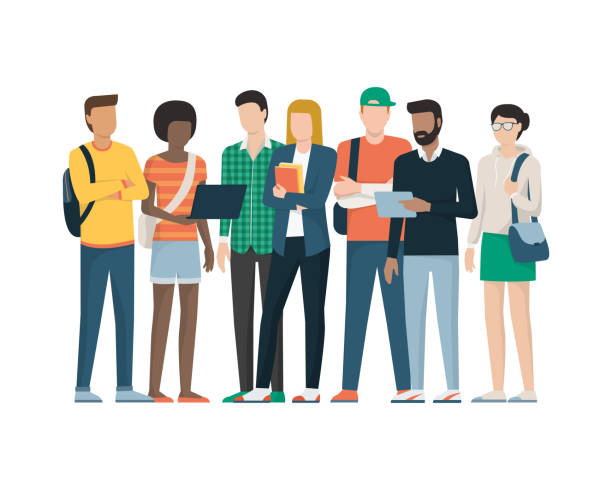 Group of students Multiethnic group of young students standing together, education and youth concept campus stock illustrations