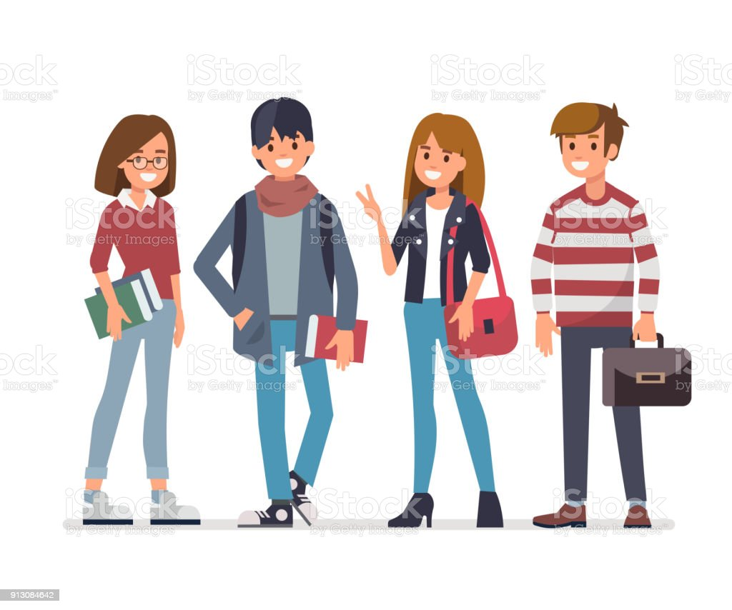 Group of students Group of young students. Flat style vector illustration isolated on white background. Adult stock vector