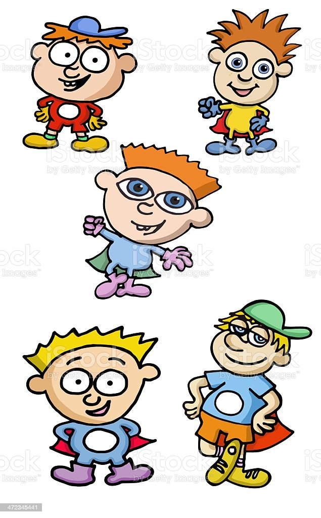 Group of superboys royalty-free stock vector art