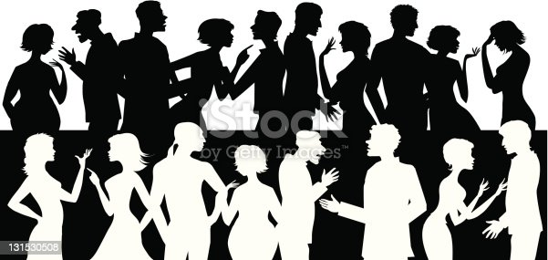 Silhouettes of people talking and arguing each other