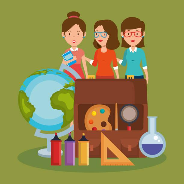 ilustrações de stock, clip art, desenhos animados e ícones de group of teachers with school supplies - teacher school solo