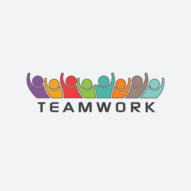 ilustrações de stock, clip art, desenhos animados e ícones de group of teamwork people together logo - future hug
