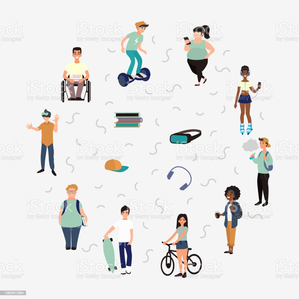 Group of teenagers busy with hobbies and leisure activities. Set of young multiracial people characters with vape, longboard, books, hoverboard, headset in flat style. vector art illustration