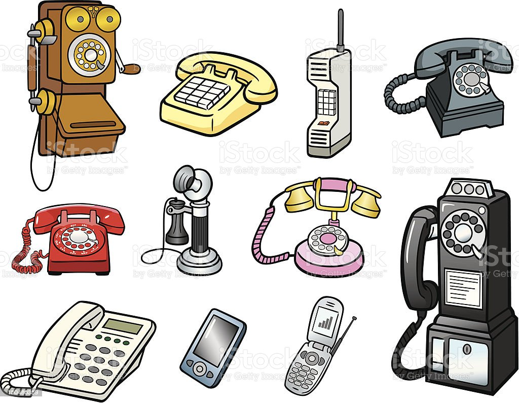 Group of Telephones vector art illustration