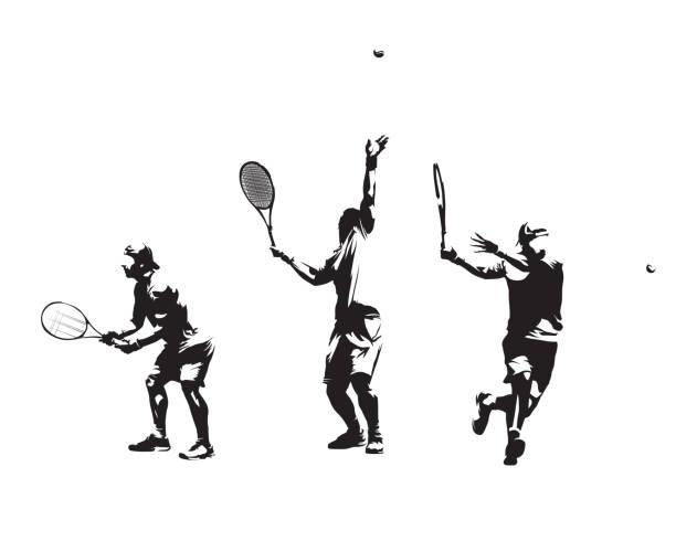stockillustraties, clipart, cartoons en iconen met groep tennissers, set van vector silhouetten. geïsoleerde inkttekeningen - tennis