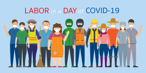 group of thai people labor, worker wearing face mask - essential workers stock illustrations