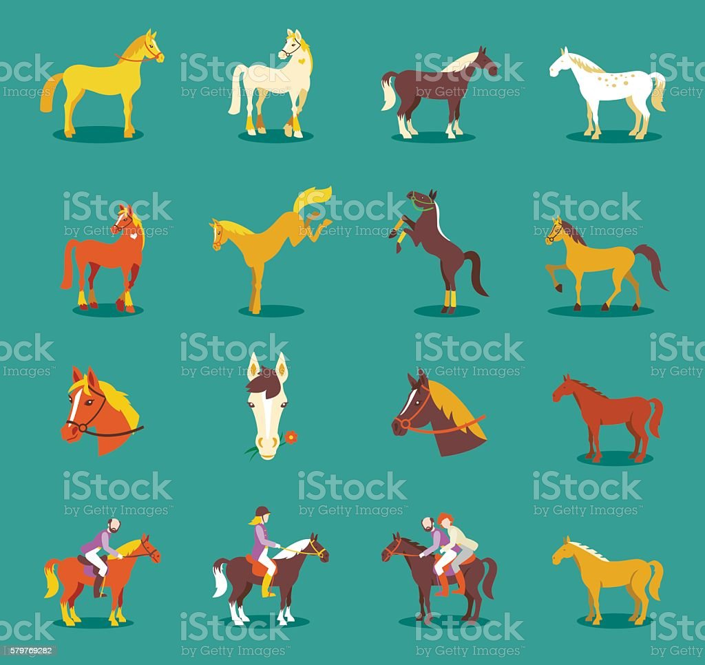 Group of the horses isolated on the blue background. vector art illustration