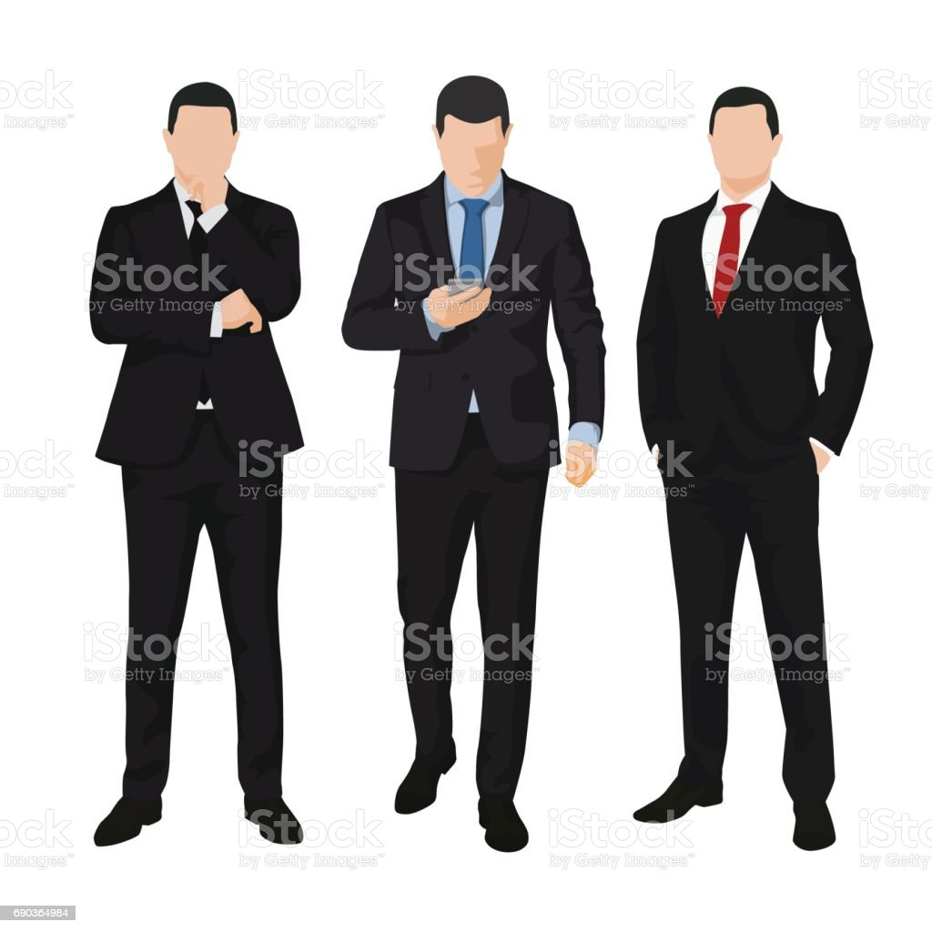 Group of three business men, isolated vector illustrations. People vector art illustration