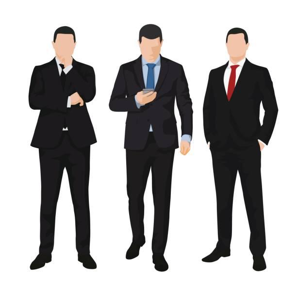 Gruppe von drei Geschäftsleuten, isolierte Vektor-Illustrationen. leute – Vektorgrafik