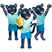 Three cartoon panthers as the soccer players with gold goblet