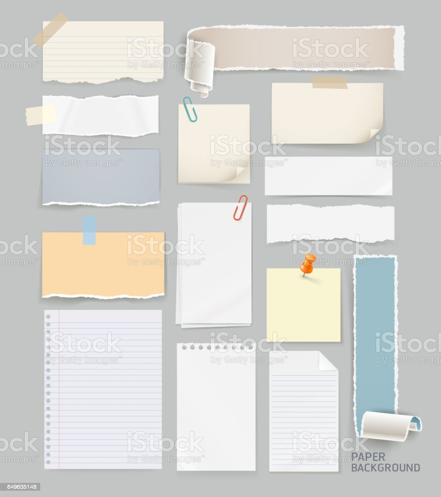 Group of torn paper background. vector art illustration