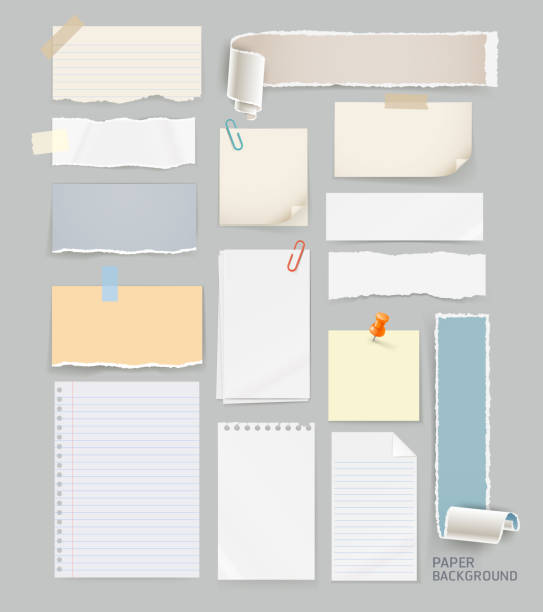 group of torn paper background. - lined paper stock illustrations