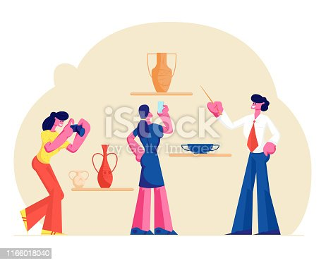 istock Group of Tourists Visiting Museum of Ancient History Watching and Photographing Old Vases. Guide Man Tell Lecture with Pointer. Education, Tourism Hobby Activity. Cartoon Flat Vector Illustration 1166018040