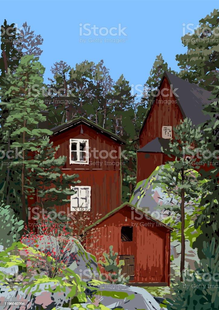 Grupp av traditionella, röda, skandinaviska hus på klipporna omgivna av barrträd och buskar - Royaltyfri Arkivfilm vektorgrafik
