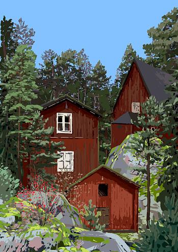 Grupp Av Traditionella Röda Skandinaviska Hus På Klipporna Omgivna Av Barrträd Och Buskar-vektorgrafik och fler bilder på Arkivfilm
