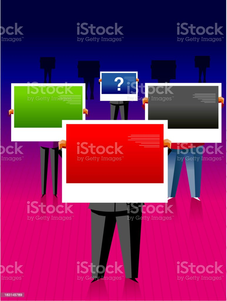 Group of unidentifiable business people holding billboards with question mark royalty-free stock vector art