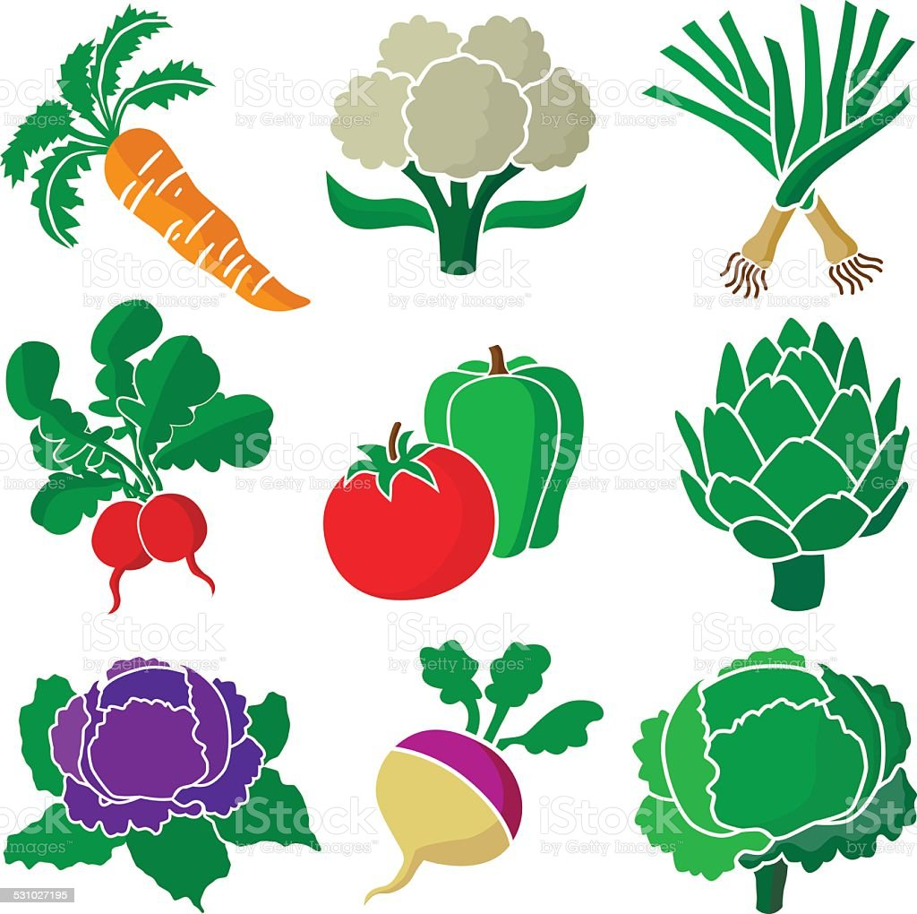 group of various healthy vegetables vector art illustration