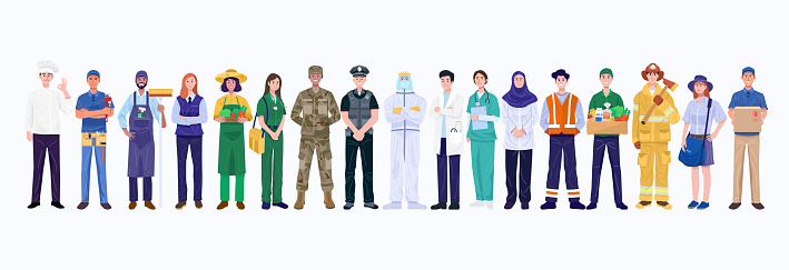Group of various occupations people. Vector