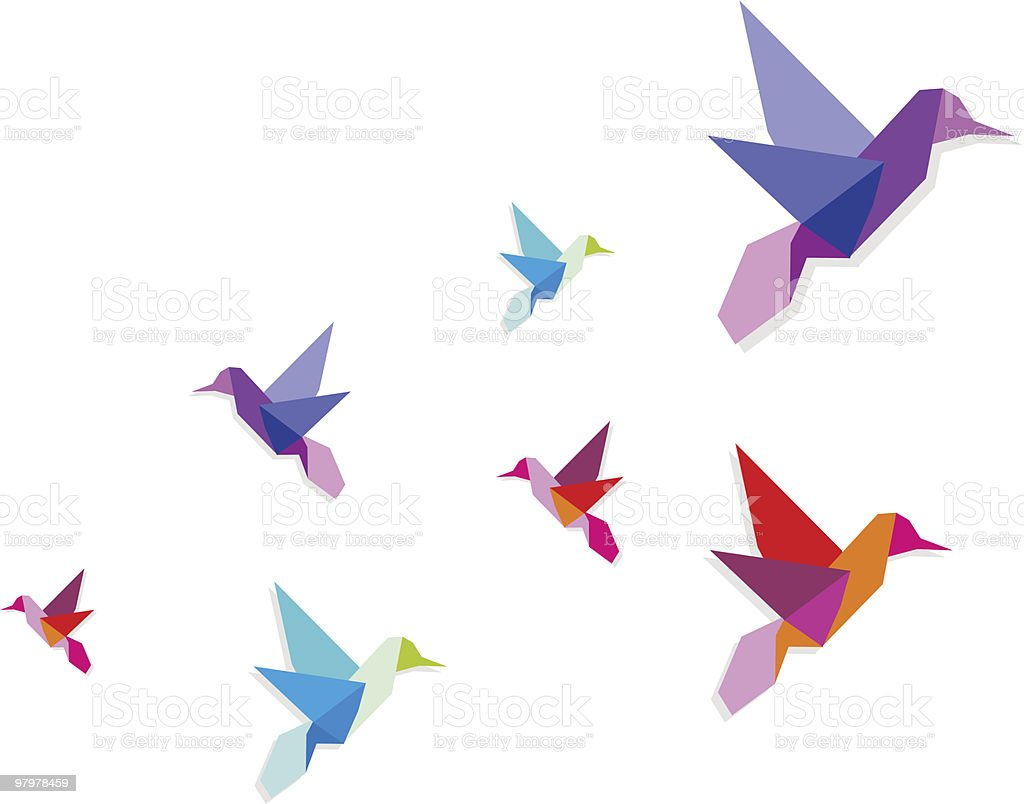 Group of various Origami hummingbirds royalty-free group of various origami hummingbirds stock vector art & more images of bird