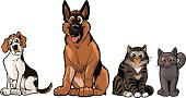 Group of Vector Cartoon Dogs And Cats