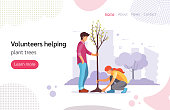 Volunteers helping plant green trees. Group of volunteer planting in city park. Young people work together to improve the environment. Volunteering, altruistic job cartoon vector illustration
