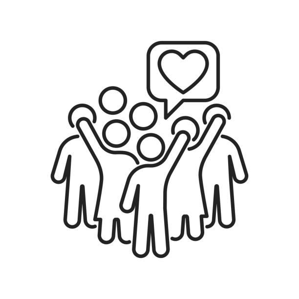 stockillustraties, clipart, cartoons en iconen met pictogram van de groep vrijwilligerskleurlijn. non-profit gemeenschap. liefdadigheid, humanitaire hulp concept. overzichtpictogram voor web-pagina, mobiele app, promo. - non profit