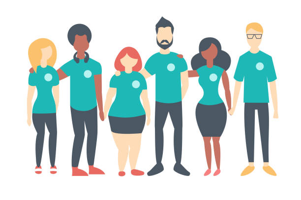 Group of Volunteers wearing same color t-shirts Group of Volunteers wearing same color t-shirts. Multinational people standing happily together. Vector flat isolated image community drawings stock illustrations