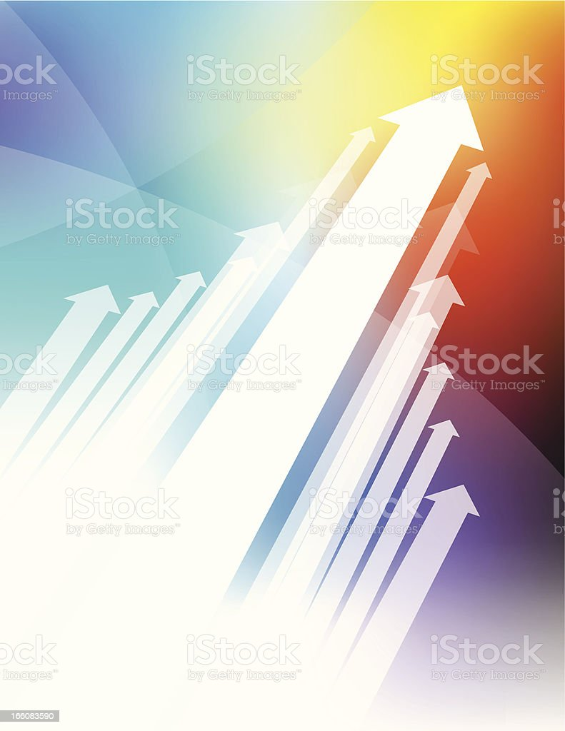 A group of white arrows point up on a colorful background royalty-free stock vector art