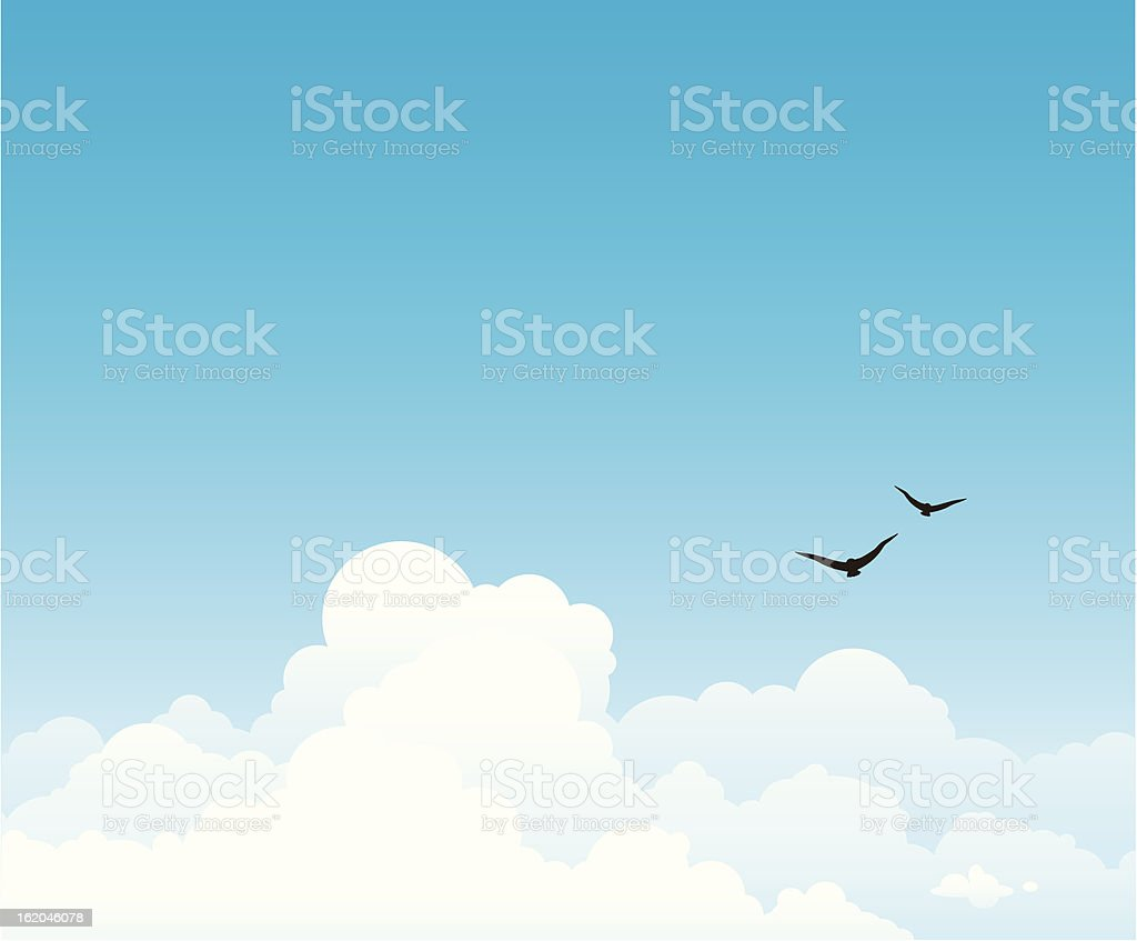 Group of white clouds on a blue sky. vector art illustration