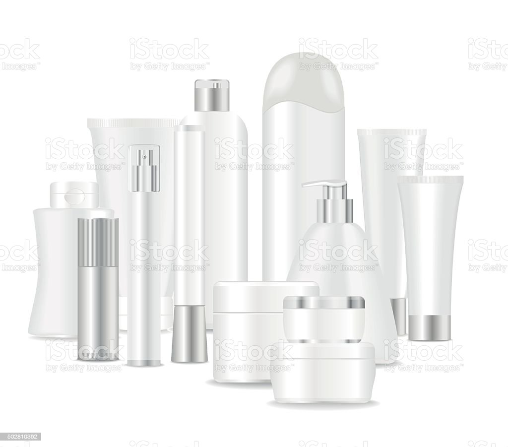 Group of white cosmetic tubes vector art illustration