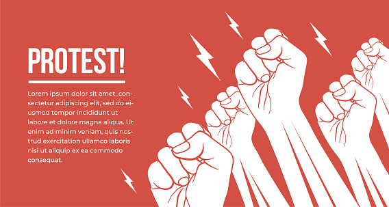 Group of white raised up fists arms of protesting peoples. Protest, demonstration, meeting concept vector illustration.