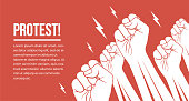 Group of white raised up fists arms of protesting peoples. Protest, demonstration, meeting concept vector eps 10 illustration.