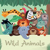 vector illustration of happy group of wild animals gathering…