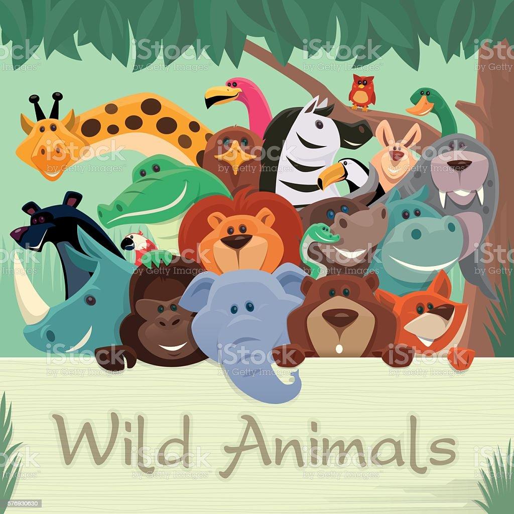 group of wild animals gathering vector art illustration