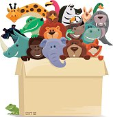 vector illustration of happy group of wild animals in cartons…