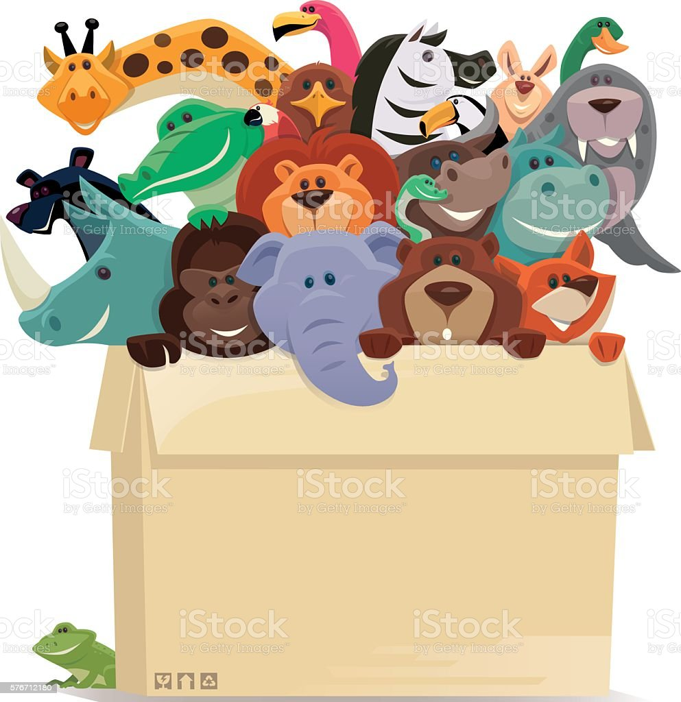 group of wild animals in cartons vector art illustration