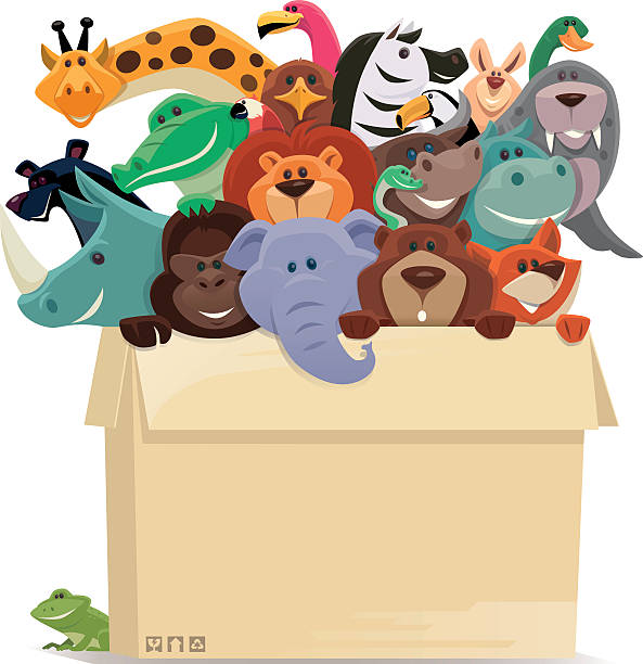 group of wild animals in cartons - eagle character stock illustrations, clip art, cartoons, & icons