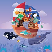 vector illustration of happy group of wild animals sailing…