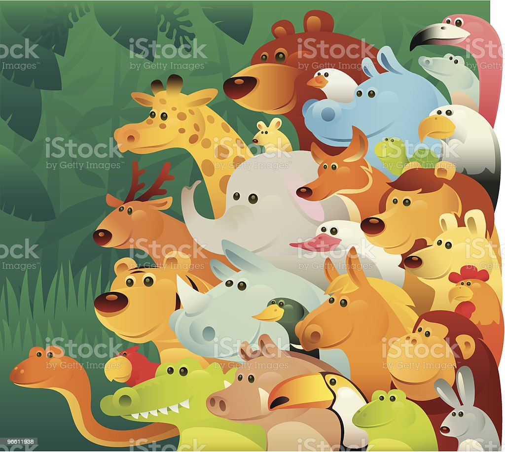 Группа диких животных - Векторная графика Лев роялти-фри