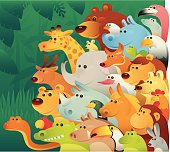 vector illustration of smiling animals looking at....