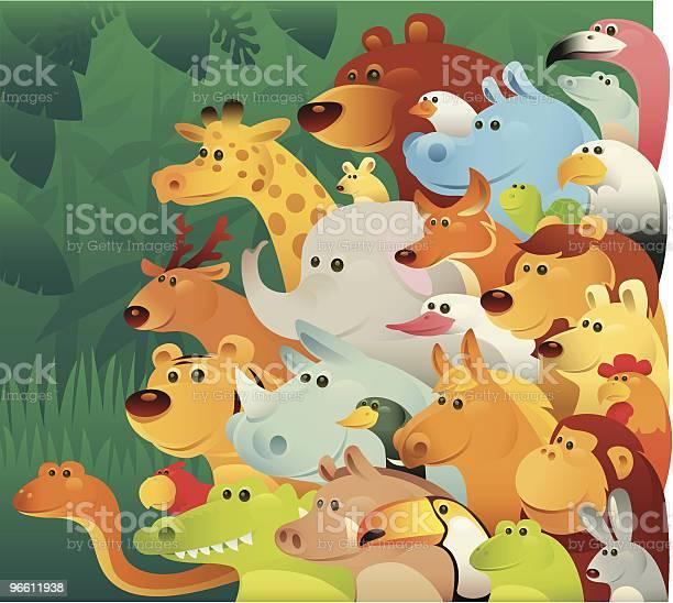 Группа Диких Животных — стоковая векторная графика и другие изображения на тему Лев