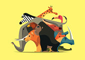 vector illustration of group of wild animals